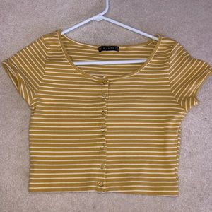 Yellow stripped ribbed crop top